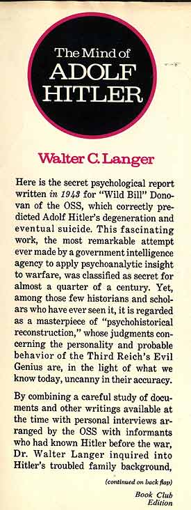 the mind of adolf hitler the secret wartime report The mind of adolf hitler [walter c langer] on amazoncom free shipping on qualifying offers here is the top secret psychological analysis of hitler, just released after 29 years under wraps.